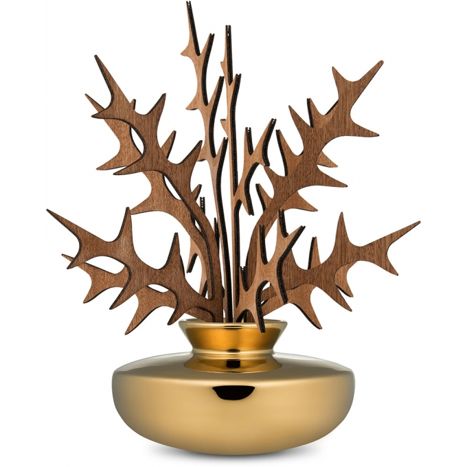 Alessi-Ohhh Leaves diffuser for room in porcelain and mahogany wood