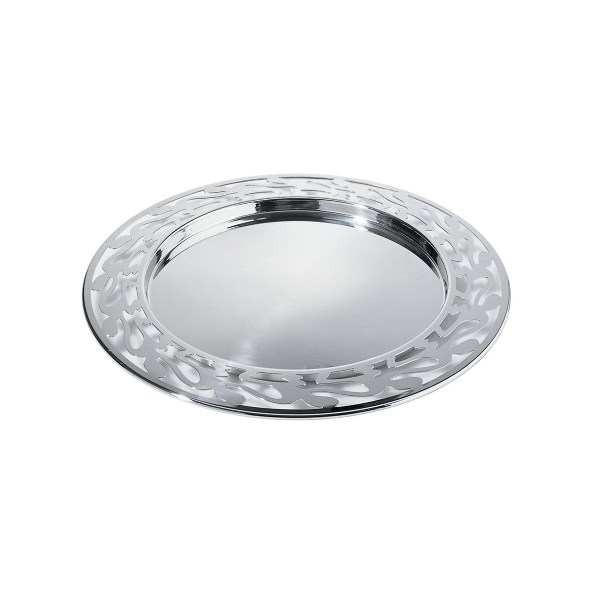 Alessi-Ethno Round tray with perforated edge in 18/10 stainless steel mirror polished