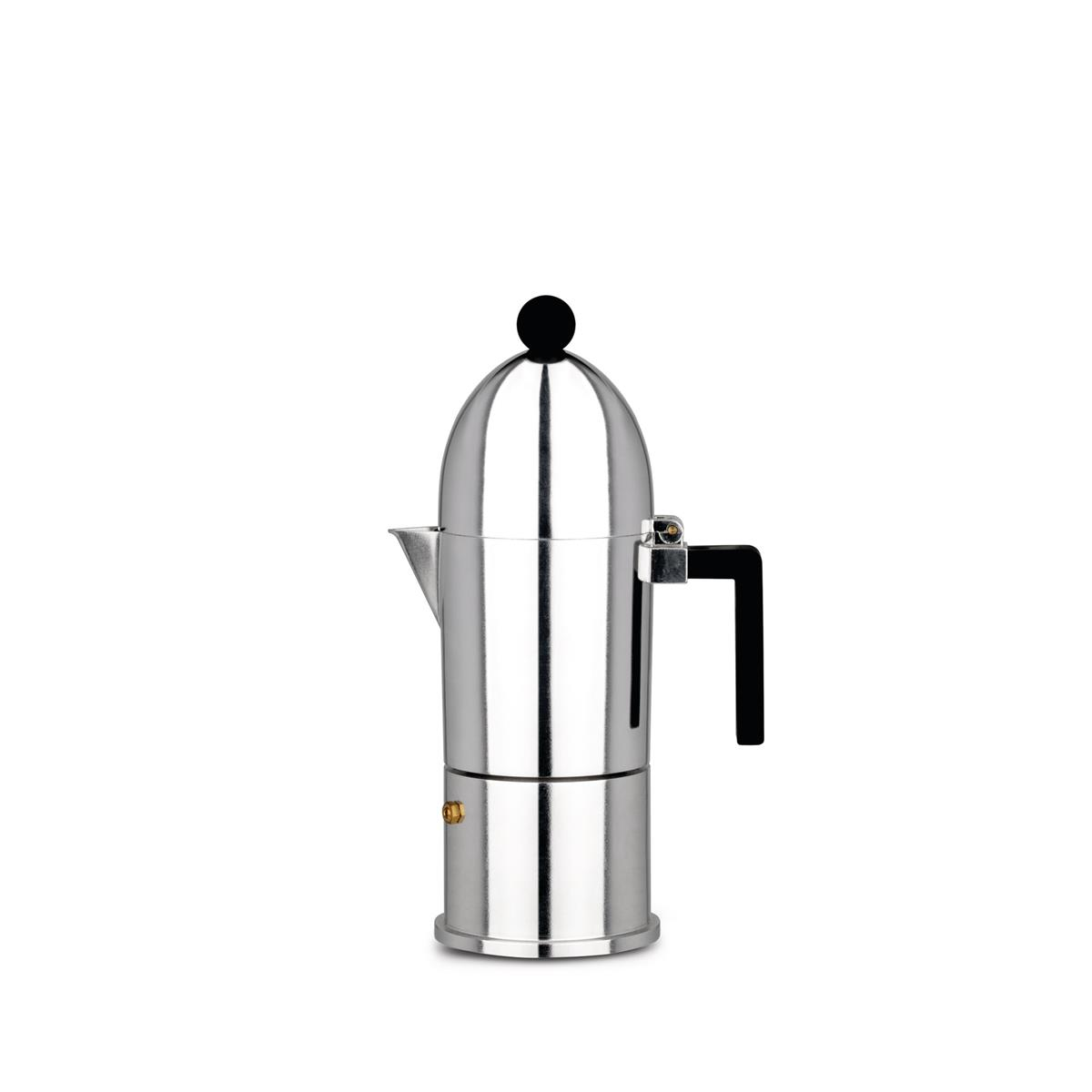 Alessi-La cupola Espresso coffee maker in cast aluminum, black 6 cups