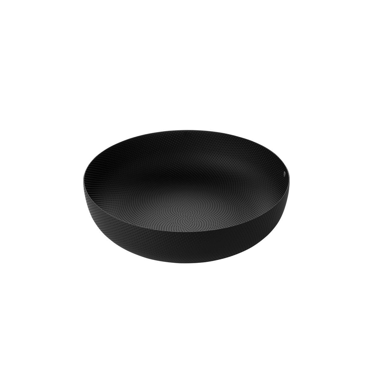 Alessi-Cestino rotondo in acciaio colorato e resina, nero con decoro a rilievo