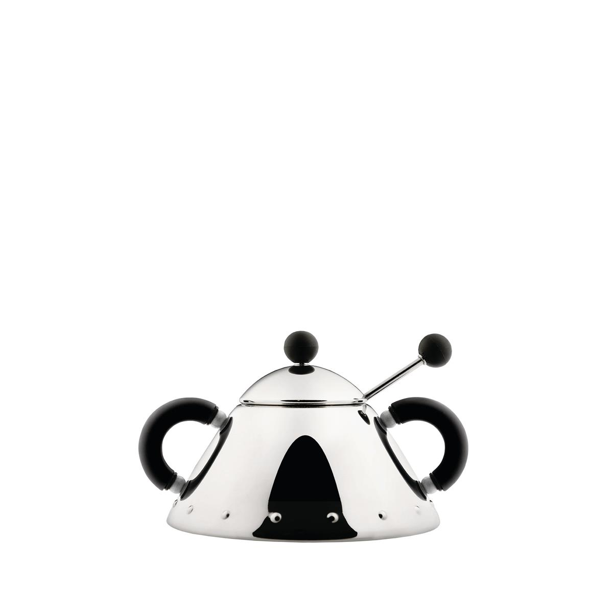 Alessi-Sugar bowl with spoon in 18/10 stainless steel and PA, black