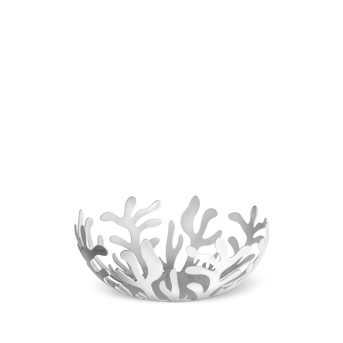 Alessi-Mediterraneo Fruttiera in acciaio colorato con resina epossidica, bianco