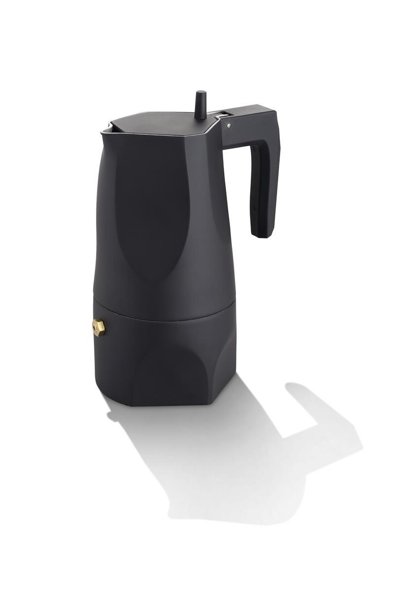 Alessi-Ossidiana Espressomaschine aus Aluminiumguss, schwarz 3 Tassen