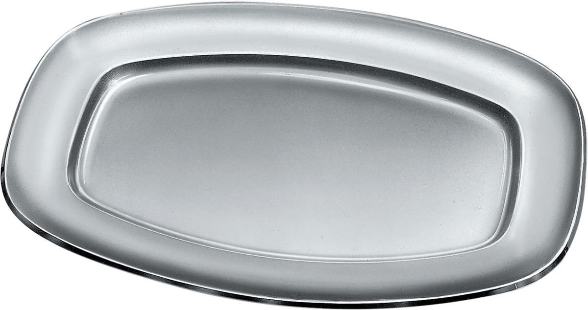 Alessi-Oval Servierteller aus 18/10 satiniertem Edelstahl mit polierter Kante
