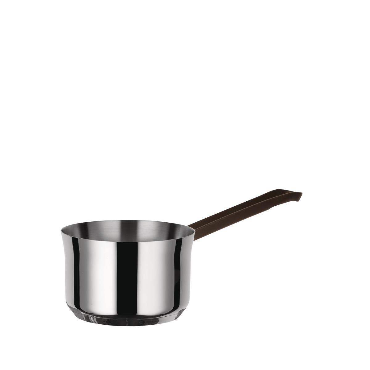 Alessi-edo Casserole with long handle in 18/10 stainless steel suitable for induction