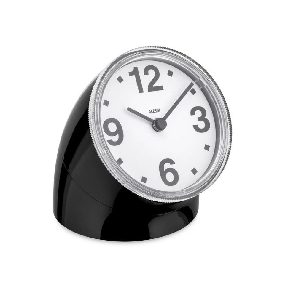 Alessi-Cronotime Table clock in ABS, black