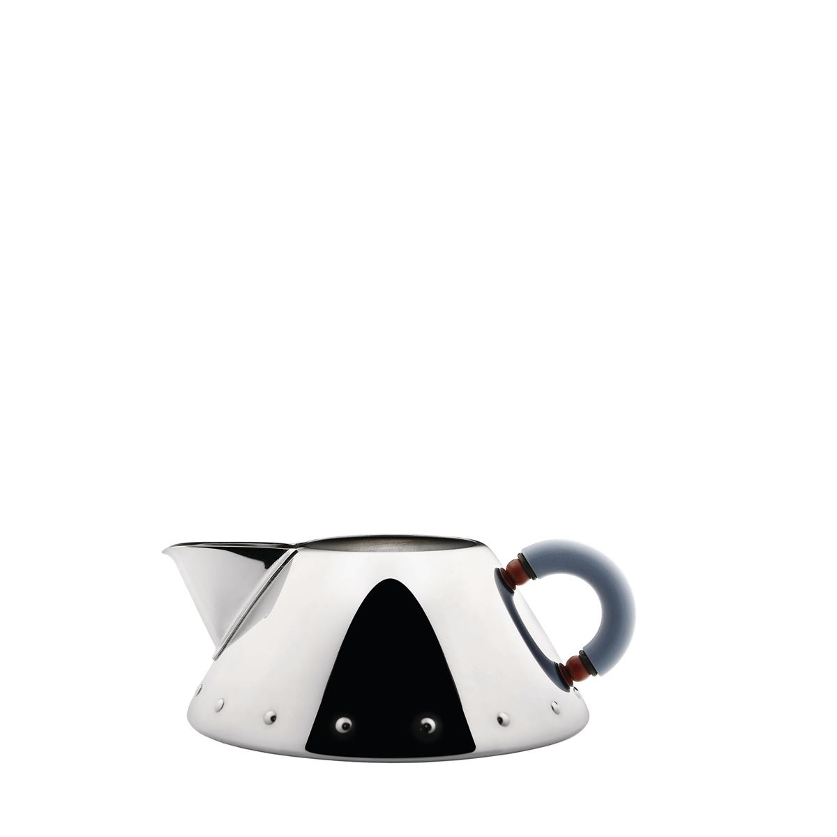 Alessi-Creamer in 18/10 stainless steel mirror polished with handle in PA, light blue
