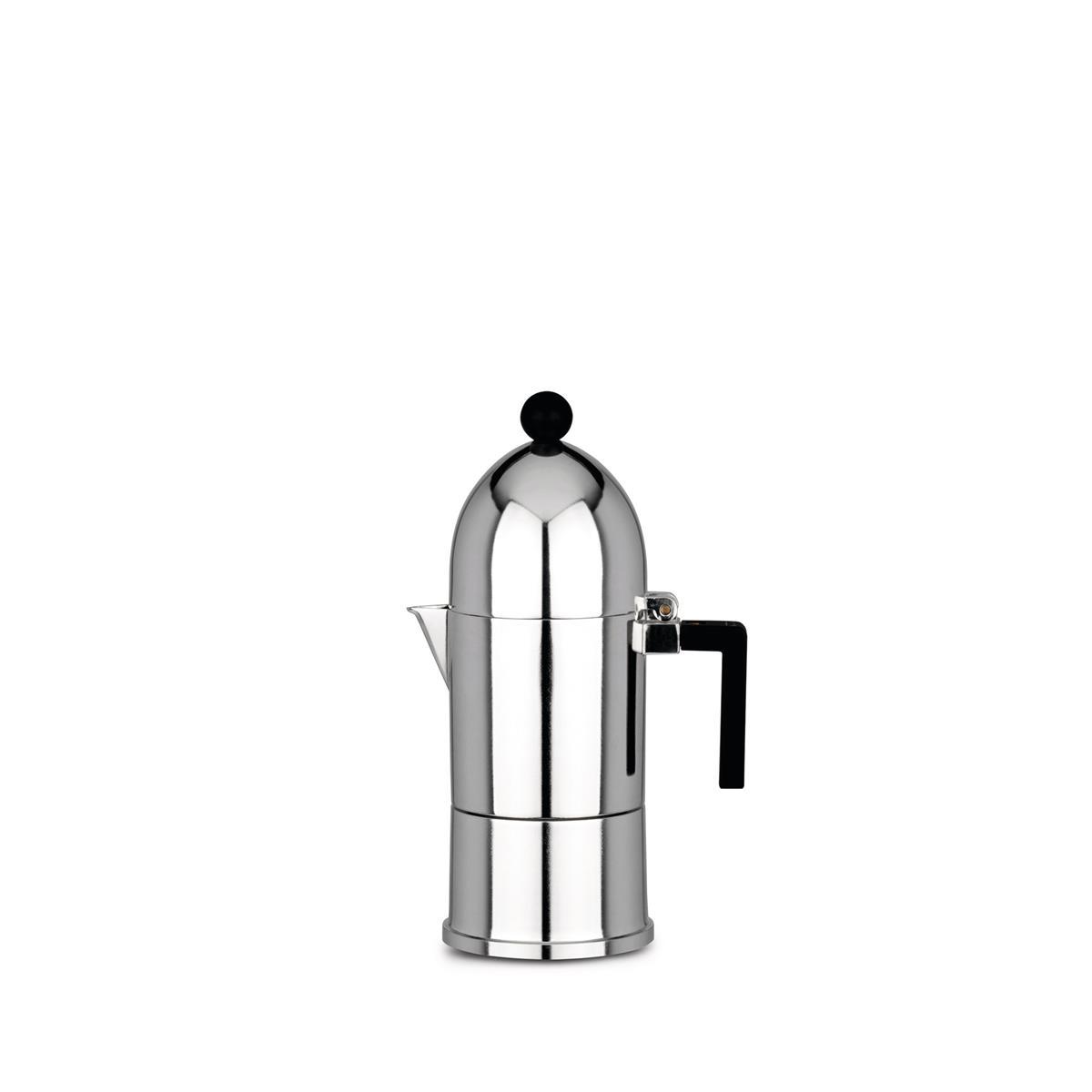 Alessi-La Kuppel Espressomaschine aus Aluminiumguss, schwarz 3 Tassen