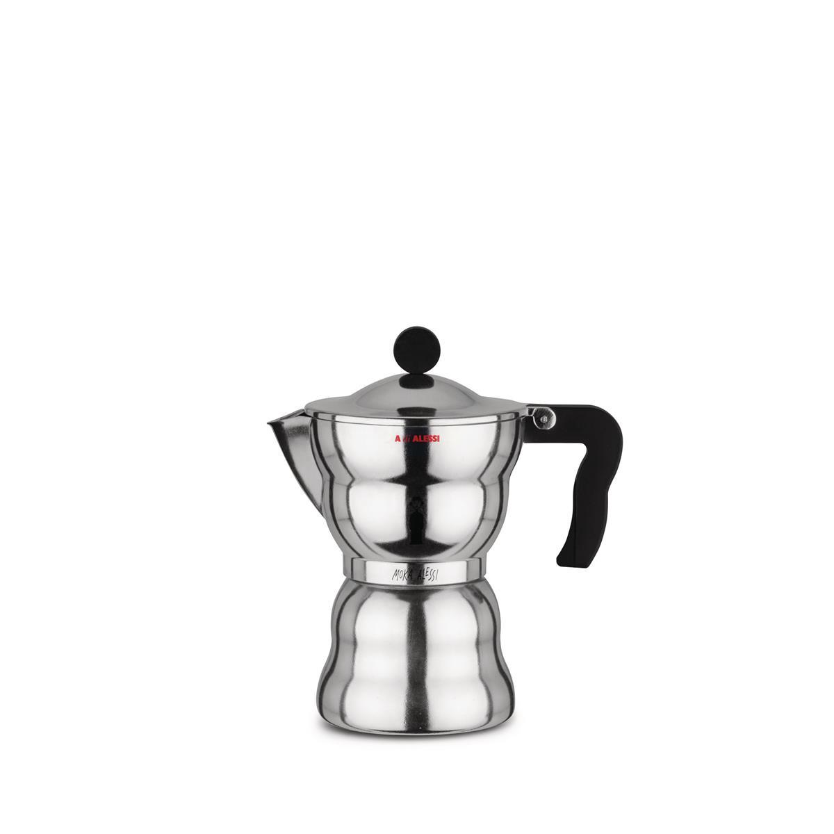 Alessi-Moka Alessi Caffettiera espresso in fusione di alluminio, nero 6 tazze