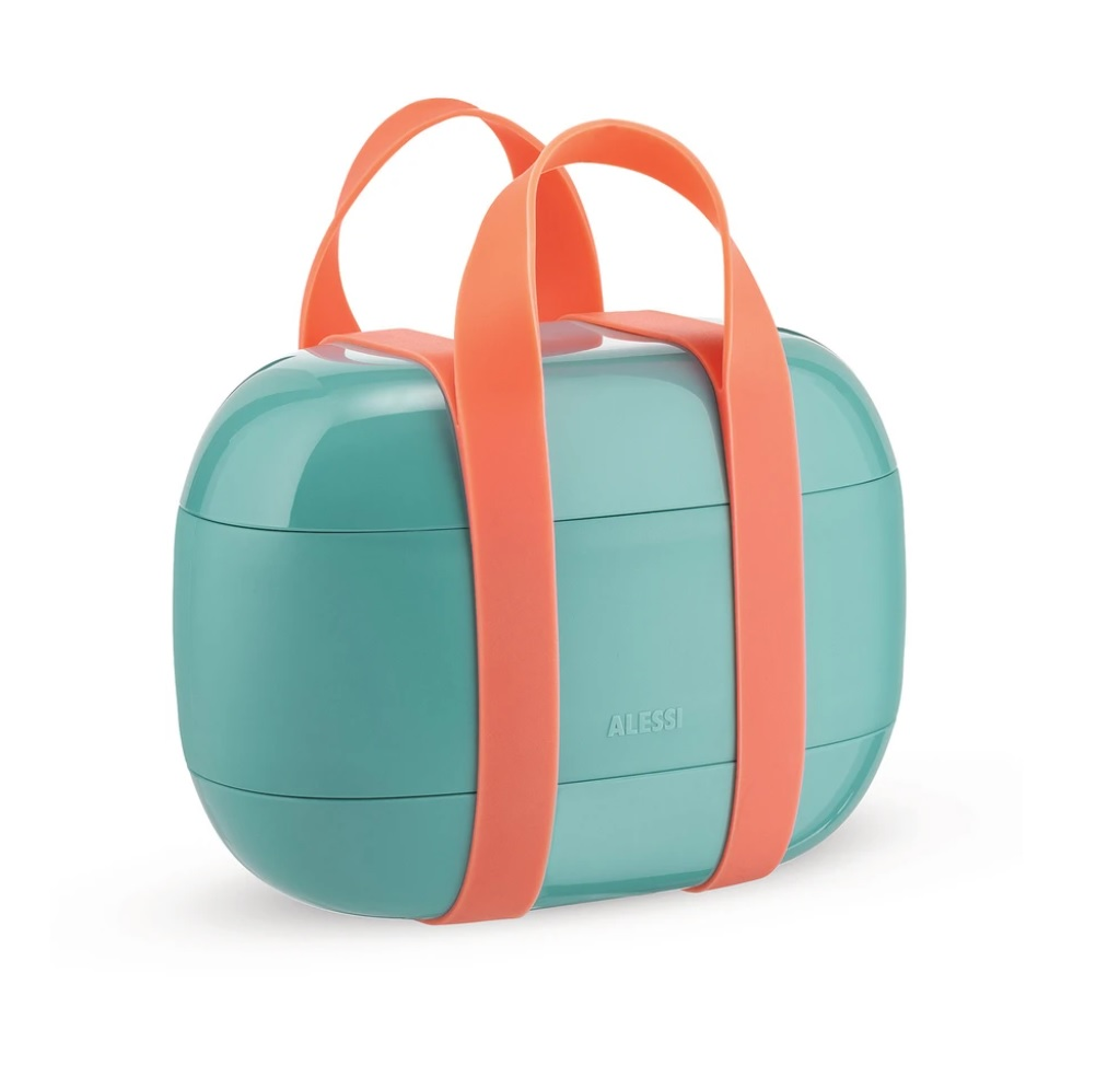 Alessi-Food à porter Lunch box with three compartments in thermoplastic resin, light blue