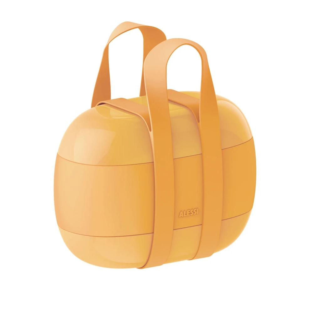 Alessi-Food à porter Lunch box with three compartments in thermoplastic resin, yellow