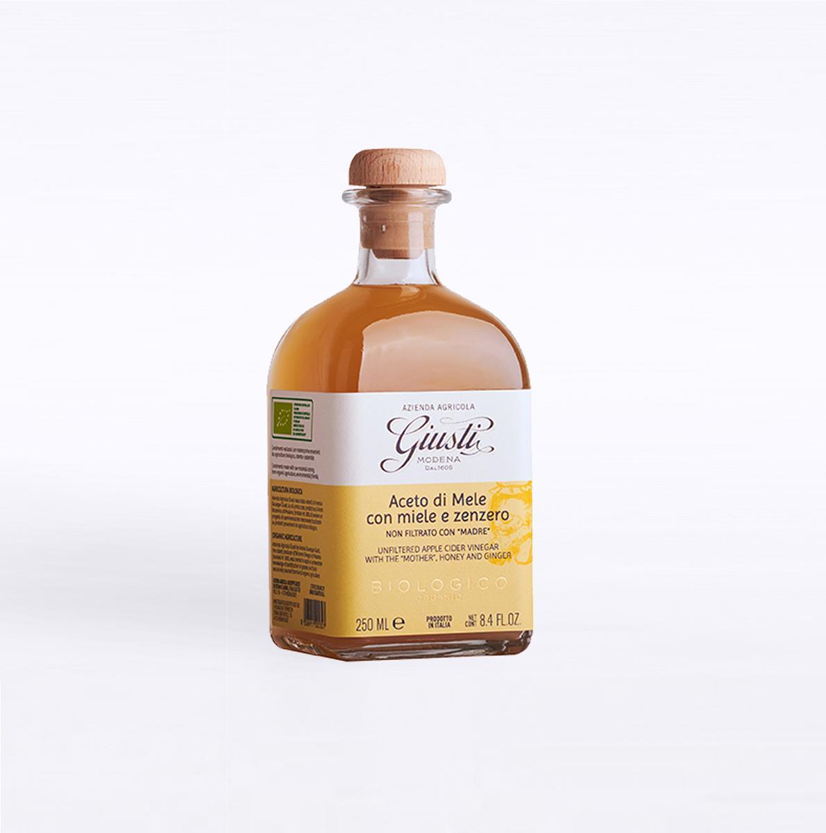Aceto di mele Biologico non filtrato con madre, miele e zenzero 250 ml