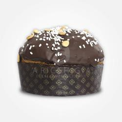 A' Ricchigia - Homemade Panettone Covered with Chocolate and Grains Almonds (750gr) with Glass of Al