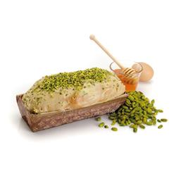 Homemade Sweet Bread Covered with Chocolate anf Grains Pistachios stuffed Pistachio Cream