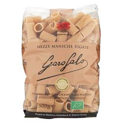 WHOLE WHEAT MEZZE MANICHE RIGATE  - Wholemeal Pasta - Organic - Pack of 16 x 500g
