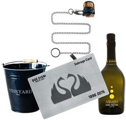 DUE CIGNI Due Cigni - Sommelier Kit with Sabrage Card in Steel + Prosecco Cuvée Prestige + Black ice bucket