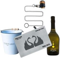 DUE CIGNI Due Cigni - Sommelier Kit with Steel Sabrage Card + Cuvée Prosecco + White ice bucket