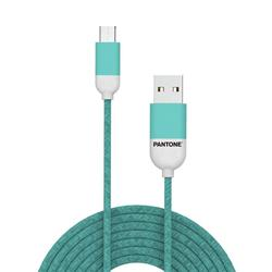 PANTONE™ Micro USB Cable For iPhone- 2,4A - 1 Meter - Rubber Cable - Cyan
