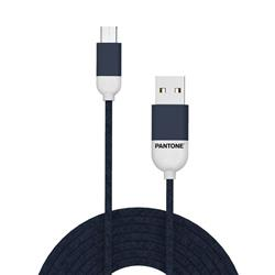 PANTONE™ Micro USB Cable For iPhone - 2,4A - 1 Meter - Rubber Cable - Navy