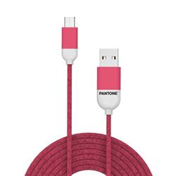 PANTONE™ Micro USB Cable For iPhone - 2,4A - 1 Meter - Rubber Cable - Pink