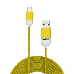 PANTONE™ Micro USB Cable For iPhone- 2,4A - 1 Meter - Rubber Cable - Yellow