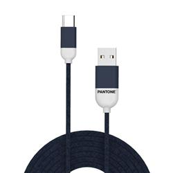 PANTONE™ USB-C Cable - 3A - 1 Meter - Rubber Cable - Navy