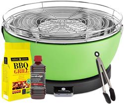 FEUERDESIGN - VESUVIO GREEN Grill - Kit with IGNITION GEL + CHARCOAL 3 Kg + TONG