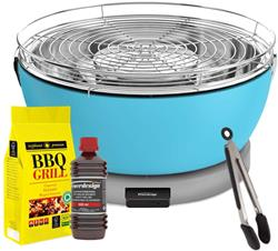 FEUERDESIGN - VESUVIO Grill AZZURRO - Kit with IGNITION GEL + CHARCOAL 3 Kg + TONG
