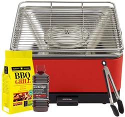 FEUERDESIGN - TEIDE Grill RED - Kit with IGNITION GEL + CHARCOAL 3 Kg + TONG