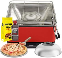 FEUERDESIGN - TEIDE Grill RED - Kit with IGNITION GEL + CHARCOAL 3 Kg + TONGS + PIZZA STONE + STAINL