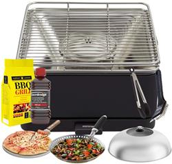 FEUERDESIGN - TEIDE Grill ANTHRACITE - Kit with IGNITION GEL + CHARCOAL 3 Kg + TONGS + PIZZA STONE +