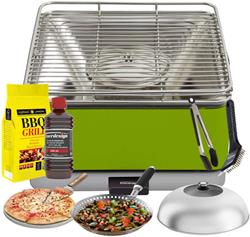 FEUERDESIGN - GREEN TEIDE Grill - Kit with IGNITION GEL + CHARCOAL 3 Kg + TONGS + PIZZA STONE + DOME