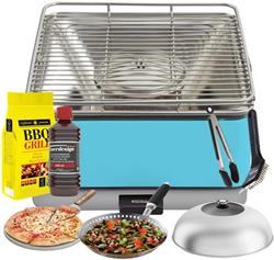 FEUERDESIGN - TEIDE Grill AZZURRO - Kit with IGNITION GEL + CHARCOAL 3 Kg + TONGS + PIZZA STONE + ST