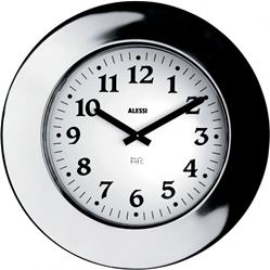Alessi-Momento Wall clock in 18/10 stainless steel