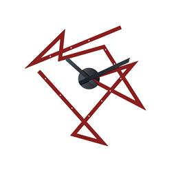 Alessi-Time Maze Wall clock in colored steel and resin, red