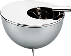 Alessi-Ashtray with round opening off center in polished stainless steel