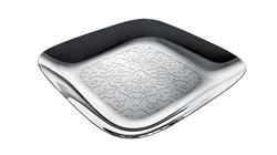 Alessi-Dressed Square tray in 18/10 stainless steel mirror polished - relief decoration