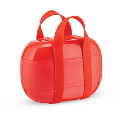 Alessi-Food à porter Lunch box with three compartments in thermoplastic resin, red